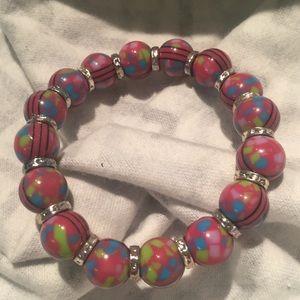 Jewelry - Pink Green Beaded Bracelet Paint Splatter Black
